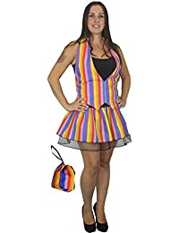 Plus Size Rainbow Stripe Fancy Dress Set inc Waistcoat Pleated Tutu Skirt and Pouch