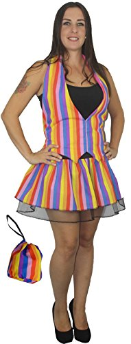 Plus Size Rainbow Stripe Kostüm-Set, mit Weste/Tutu/Beutel, (Plus Size Dragon Kostüme)