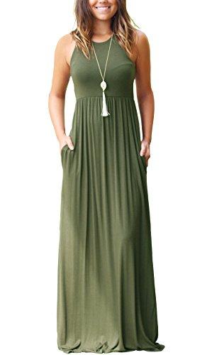 VIISHOW Damen Tunika ärmellos T-Shirt Kleid Lange Kleid (Armeegrün L)