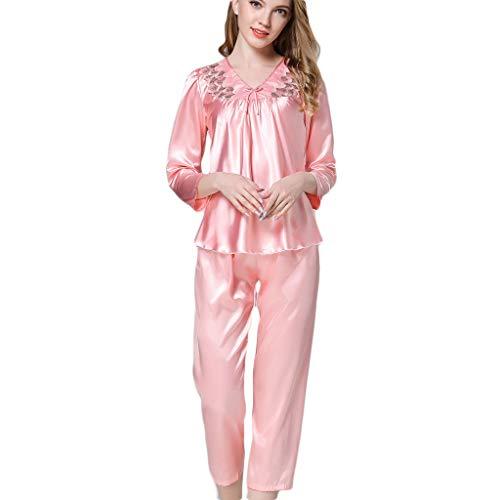 AIni Damen Nachthemden,Elegant Damen Simulation Langarm Nachtwäsche Lange Nachtwäschesets Morgenmäntel Schlafanzüge(XL,Rosa) -