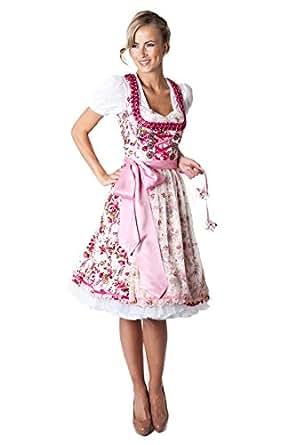 Ludwig und Therese Damen Trachten Dirndl Marissa midi creme/pink 11119 32