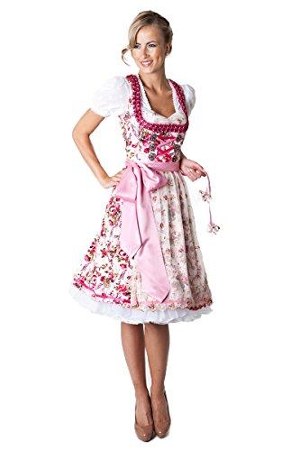 Ludwig und Therese Damen Trachten Dirndl Marissa midi creme/pink 11119 38