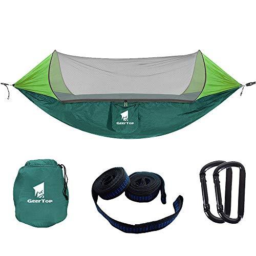 GEERTOP Ultraleichte Camping Hängematte Moskitonetz, Moskito Netz Atmungsaktive leichte Pop-Up Tragbare Fallschirm Hängematten für Outdoor Backpacking oder einen Innengarten,Camping (Grün)