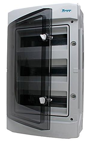 Kopp Aufputz-Feuchtraum-Verteiler mit Tür 3-reihig für 36 Pole, 1 Stück, Grau/Schwarz, 353813049