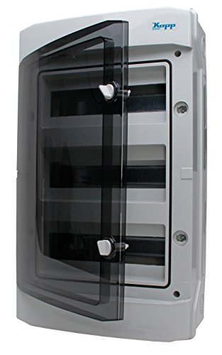 Kopp 353813049 Aufputz-Feuchtraum-Verteiler mit Tür 3-reihig für 36 Pole grau/schwarz