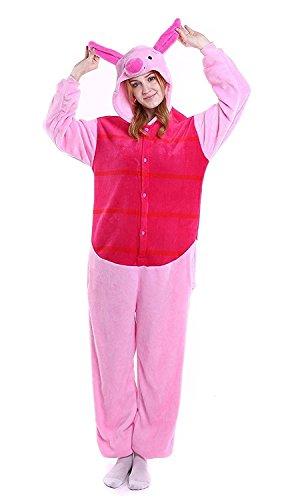 Winnie Puuh Ferkel Kostüm - Venaster Pyjamas Junge Erwachsene Unisex Animal Cosplay Overall Pajamas Anime Schlafanzug Jumpsuits Spielanzug Kostüme