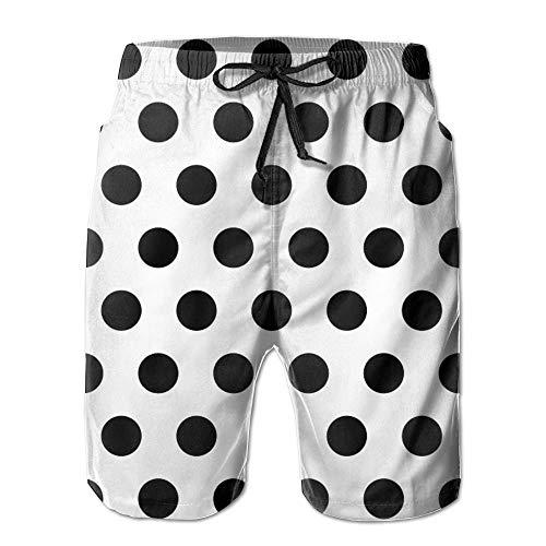 ZQHRS Patrón de Lunares Negros hasta La Rodilla Ropa de Playa para Hombres Pantalones Cortos de Playa...