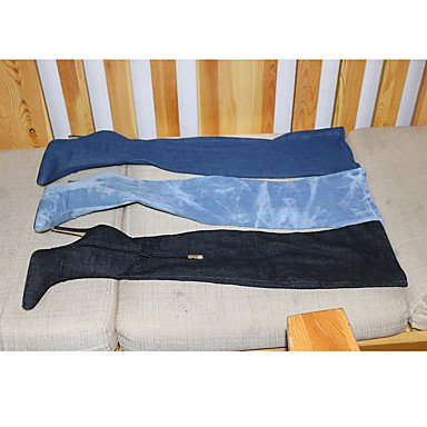 Bottes pour femmes Printemps Automne Denim Chaussures Club &Parti robe de soirée boucles et fermeture éclair Navy Blue