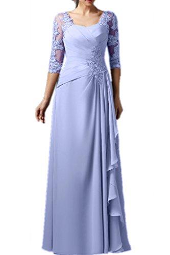 Promgirl House Damen Charmant Chiffon Spitze A-Linie Hochzeits Abendkleider Ballkleider Lang mit Aermel Lavendel