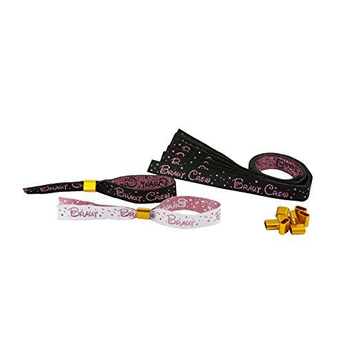Oblique Unique® JGA Armbänder Set 1x Braut - 9X Braut Crew mit Glitzereffekt Junggesellinnenabschied Hen Party Hochzeit Armband Einheitsgröße - Schwarz Weiß Roségold