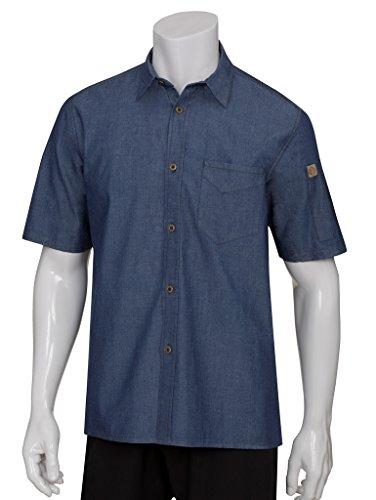 Chef Works maglietta a maniche corte da uomo Detroit denim blu l cotone casual top, M, Blue, 1