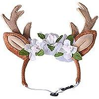 Ablaze Zal Cute Pet Supplies Navidad Pet Reindeer Diadema Banda para el Cabello - Rojo M