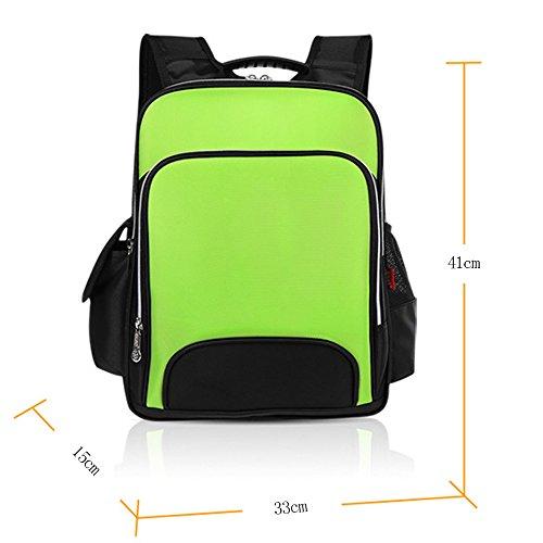 BOZEVON Jungen Mädchen Wasserdichte Rucksack für Kinder Unisex Schulrucksäcke Rucksack für Reisen, Wandern Grün-L