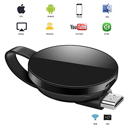 ATETION WiFi Dongle de Pantalla, Wi-Fi Receptor Mini Pantalla 1080P HDMI TV Miracast DLNA Airplay para iOS / Android / Mac