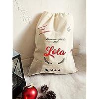 Hotte de Noel avec prénom personnalisé/grand sac emballage cadeau 50x40cm