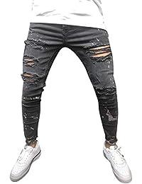 Pantalones Hombre Vaquero Pitillo Chandal de Vestir Impreso Mezclilla  Algodón Vendimia Lavado Hip Hop Trabajo Pantalones a10120f9add8