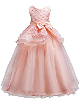 [Sponsorizzato]WOLFTEETH Fiore Ragazze Abito Principessa Senza maniche Compleanno Festa nozze Sera Vestito