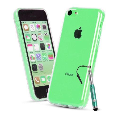 MADCASE Apple iPhone 5C Premium Leder/Harthülle/Gel/Silikon/Strapazierfähig/Durchsichtig/Klar/Portemonnaie/Kreditkartenhalter Flip Case Bumper Ständer Hülle mit Display Schutz und Eingabestift - Weich Clear Silicone GEL Case