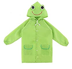 Kuhu Creations Cute Funny Cartoon Style Raincoat/Rainwear For Kids (Frog:Green).