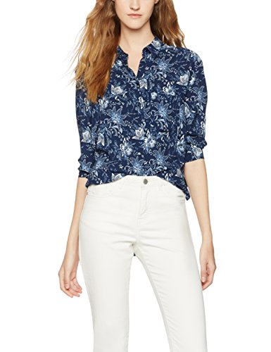 FIND Floral Tie Sleeve, Blusa para Mujer, Azul (Blue), Small