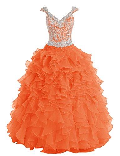 Dresstells Robe de cérémonie Robe Quinceanera longue forme marquise emperlée en organza Orange