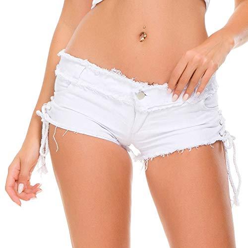 Cicongzai Damen Sexy Sommer Denim Shorts Hotpants Jeans Fahnenloch (Color : White, Size : L) -