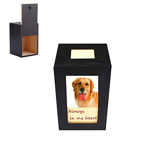 Meiyaa - Caja de fotos conmemorativa para perro, gato y animales pequeños, de madera, para cremación de mascotas