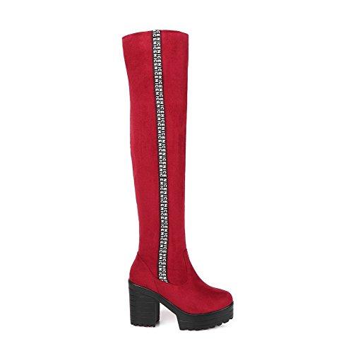 AllhqFashion Damen Gemischte Farbe Hoher Absatz Rund Zehe Nubukleder Ziehen Auf Stiefel Rot