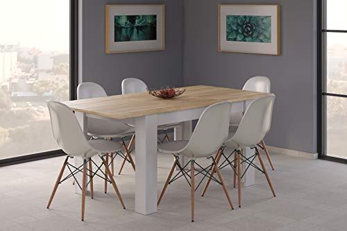 Esidra Tavolo Pranzo allungabile, Legno Bianco e Rovere, 140/190 x 78 x 90 cm