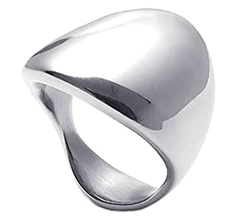 Daesar Stainless Steel Ring Mens Womens Classic Elegant Silver Wedding Bands 21MM Size:V 1/2