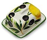 Lashuma handgemachte kleine Butterdose aus bemalter italienischer Keramik Zitrone - Olive, Butterbox Größe: ca. 12 x 9 cm
