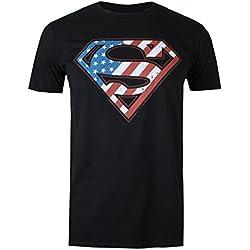 DC Comics Superman Flag, Camiseta para Hombre, Negro (Black BLK), Medium