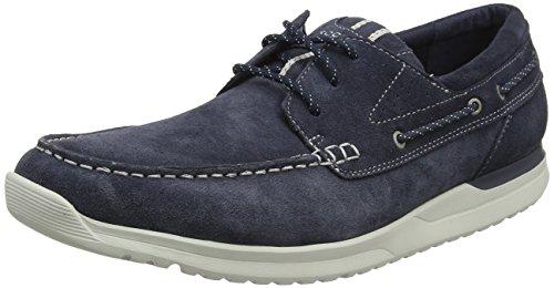 Rockport Langdon 3 Eye Oxford Navy SDE Wshble, Zapatos de Cordones Derby para Hombre, Azul, 46 EU