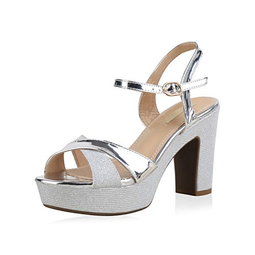SCARPE VITA Damen Plateau Sandaletten Glitzer High Heels Metallic Party Schuhe 173353 Silber 37 Party Schuhe