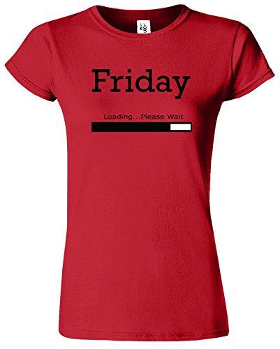 Friday Loading Dames Tshirt femmes Drôle Court Manche Tshirt Rouge / Noir Design