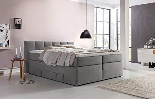 Furniture For Friends Möbelfreude® Boxspringbett Valina 200x200cm Hellgrau H2 Kopfteilhöhe 90 cm ideal für Dachschrägen + Bettkasten für Stauraum, 7-Zonen Taschenfederkern-Matratze inkl. Visko-Topper