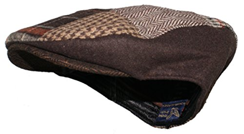 Ted and Jack Tweed Patchwork Newsboy Driving Cap mit gestepptem Futter - - Small/Medium - Ted Cap