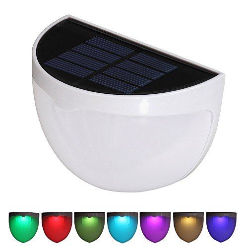 Solarbetriebene Garten Zaun Lichter, T-SUNRISE RGB Solar Security Wandleuchte, wasserdicht Dekorative Semi Circle Zaun Post Licht für Garten Patio Pfad Treppenhaus Pathway Driveways Treppenhaus Deck (Patio Lichter Post)