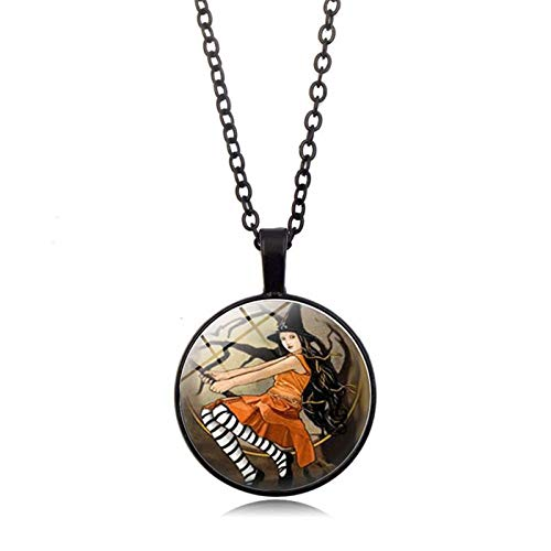 Blisfille Halloween Hexe Zeit Edelstein Halskette Anhänger Halskette Pullover Kette Damen Herren Alltag