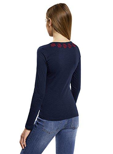 oodji Ultra Damen T-Shirt Langärmlig mit Stickerei Blau (7945P)