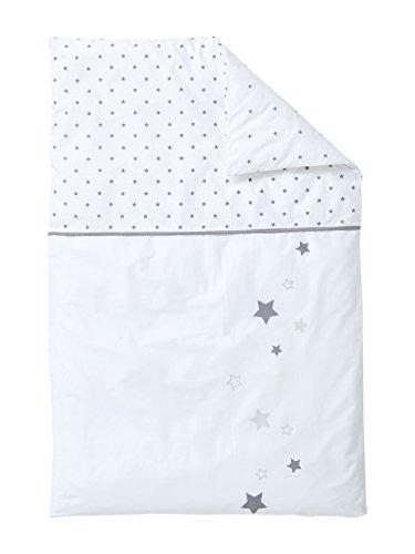 Vertbaudet Housse de Couette bébé Pluie D'ETOILES Blanc/Gris 80X120