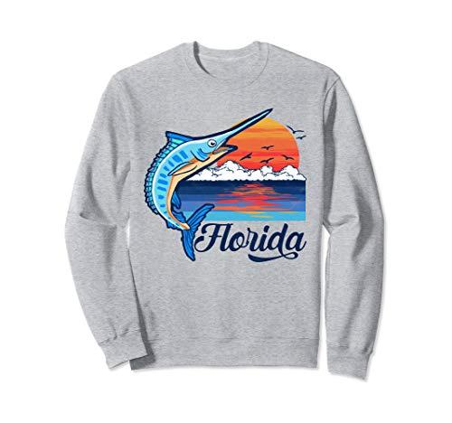 Florida Vintage Blue Marlin and Billfish Retro Vibe Graphic Sweatshirt Florida-retro-sweatshirt