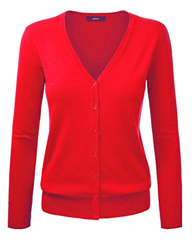 Amayar, Damenstrickjacke, Cardigan, mit Knopfverschluss Gr. XX-Large, rot