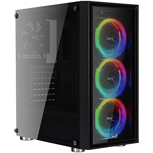 Aerocool Quartz Revo - Caja de Ordenador (Cristal Templado, 3 Ventiladores...