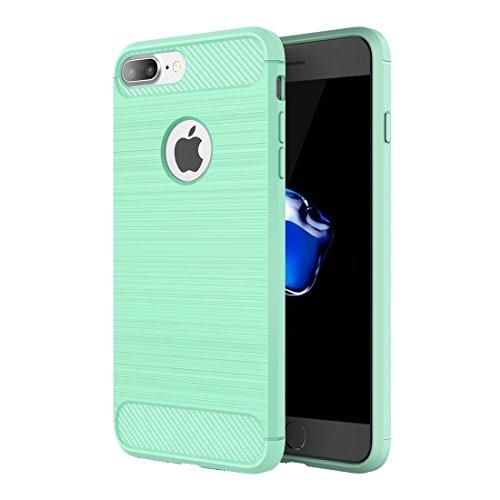 Hülle für iPhone 7 plus , Schutzhülle Für iPhone 7 Plus Brushed Texture Fiber TPU Rugged Armor Schutzhülle ,hülle für iPhone 7 plus , case for iphone 7 plus ( Color : Grey ) Green