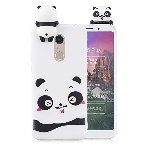 Artfeel Mignonne 3D Dessin animé Coque pour Xiaomi Redmi 5 Plus, Charmant Animal Panda Blanc Motif Souple Silicone Arrière Étui,Ultra Mince Flexible TPU Pare-Chocs Housse