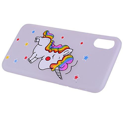 Cover iPhone X, E-Unicorn Custodia Apple iPhone X Silicone Glitter Brillantini Morbido Unicorno Cover TPU Gomma Morbida Bianco Colorate Ultra Slim Bumper Case Retro Elegante Modello Protezione Protett Bianco
