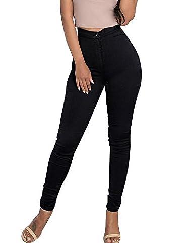 Minetom Leggings Femmes Stretch Skinny Taille Haute Crayon Pantalon Collants Push Up Denim Pantalons Jeans Noir EU XL