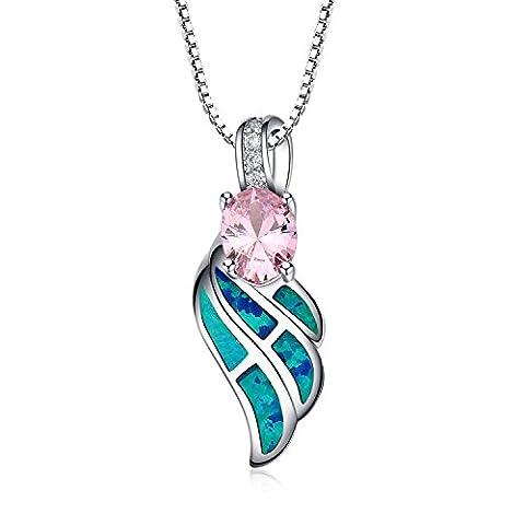Lanmpu Sterling Silver Wing avec Bleu vert incrustation Opale et rose Oxyde de Zirconium Pendentif Collier pour les femmes et les filles, chaîne de 46cm de boîte