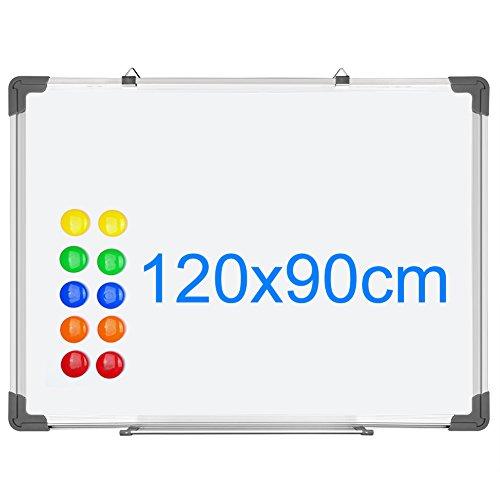SIENOC Whiteboard Magnetwand mit Alurahmen Magnetisch Whiteboard und Magnettafel Weiß lackiert (120 x 90cm)